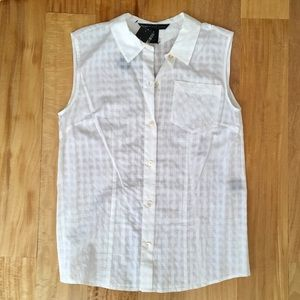 Marc Jacobs sheer white sleeveless top, new
